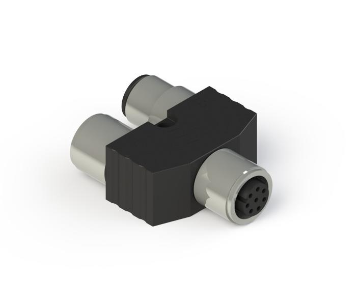 Y-shaped M12 connector without cables for series connections